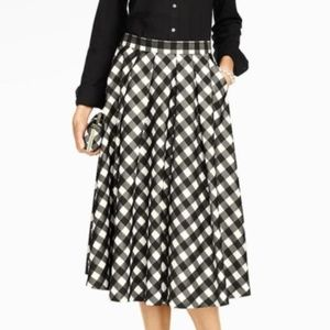 Black White Buffalo Check Talbots Skirt Size 10